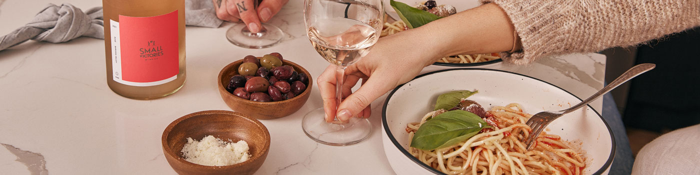 Small Victories Rose food and wine matching with pasta