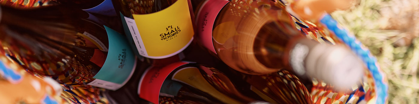Small Victories Wines in basket