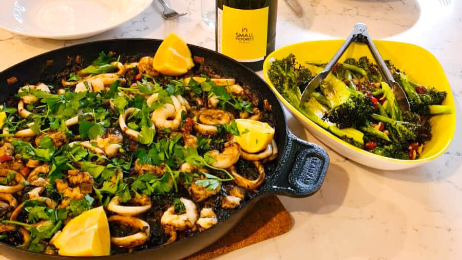squid ink risotto with Small Victories Vermentino