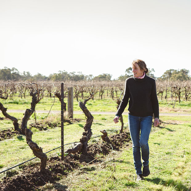 Jules Ashmead winemaker Small Victories Wine Co in vineyard